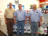Parts Manager Tim Kerl, Veteran Partsmen Brice Martin, Lee Conant.