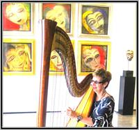 The Elegant Harp providing lovely ambiance for Jamali Art Gallery Las Olas