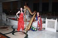 Florida Harpists Esther and AnnaLisa at the Taj Mahal Hotel, New Delhi