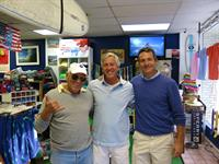 Jimmy Buffett, Rick Wentley and Johnnie-O hanging out at the shop