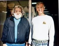 Jerry Garcia and Rick Wentley hanging out  at the shop in 1995
