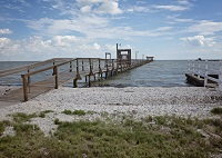 Our 1,000 foot, private, lighted fishing pier for guest use.