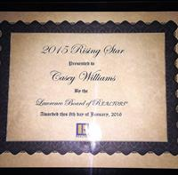 Rising Star Award from the Lawrence Board of Realtors 2015