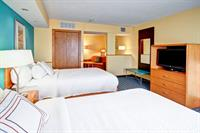 Our Two room suite has a door that closes off the living room and bedroom area for privacy