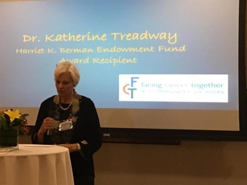 Dr. Katherine Treadway, Recipient of Dr. Harriet K. Berman Award