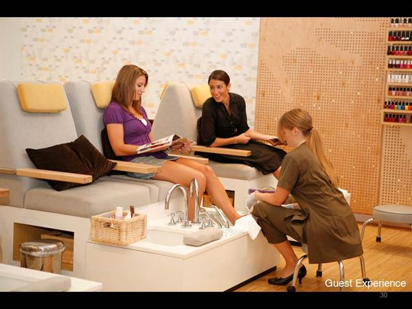 Relax in our custom pedicure stations that uses fresh, running water.