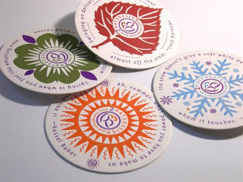 Seasonal coaster series for marketing promotion
