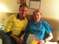 Kevin visiting a L2L client on her 90th birthday!