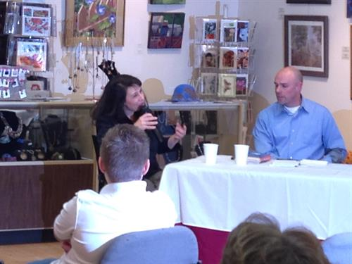 Authors Amy Yanity and Joe Walko speaking at Write Local's literary magazine release party, January 2015.