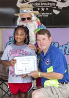 Mayor Kuykendall with Caring4Katy Kid (Tayden, age 6 battling brain cancer) @ Christmas in July Event 2015