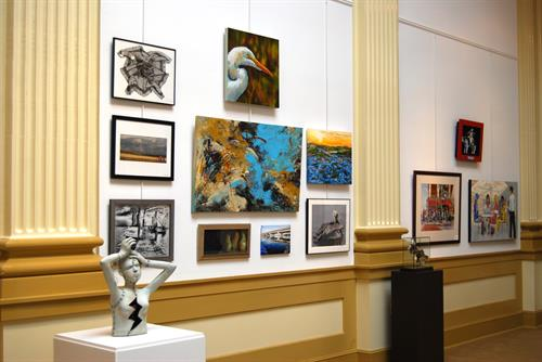 The gallery shows at the Bank of the Arts generally change every 1-2 months.