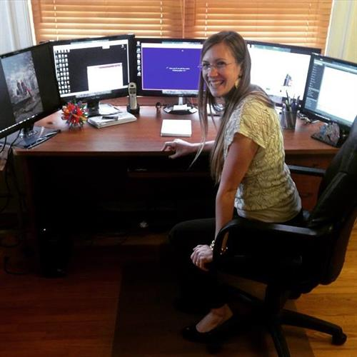 Amanda at her work station ready to help you by Remote