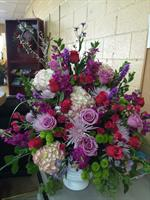 Large baskets of flowers
