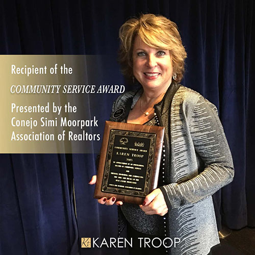 Recipient of the 2015 Community Service Award presented by the Conejo Simi Moorpark Association of Realtors