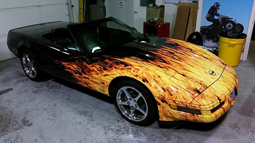 1991 Corvette wrapped in Real Flames