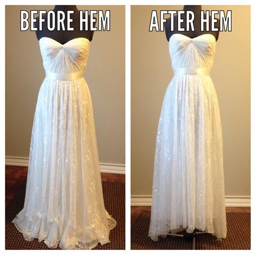 Wedding Gown High Low Hem finish
