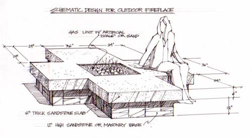 Fireplace/cocktail table sketch