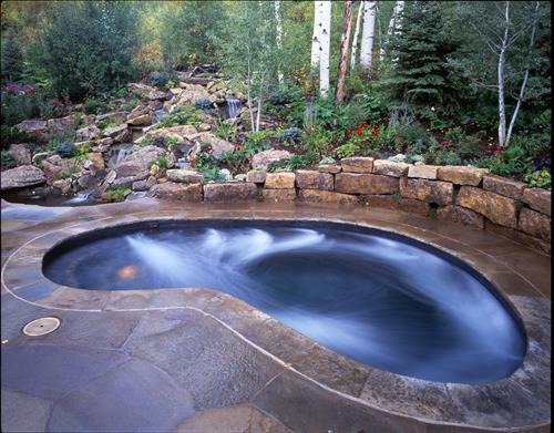Spa with recirculating water fall and cold plunge