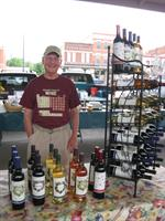 Wines from a local winery are available at the Saturday market