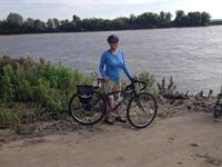 Jennifer at the end of Biking Across Kansas