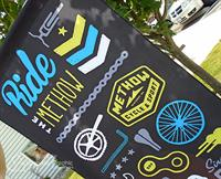 Banner on Eco-Friendly material made from 100% recycled plastic drink bottles