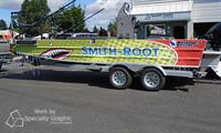 Full vinyl wrap on Smith-Root Research Boat