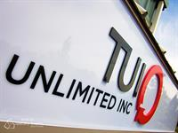 Overhead building sign for TUI