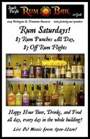 Saturday~Live music and $3 Rum Drinks