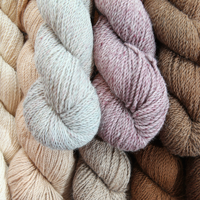 Natural and dyed alpaca yarns.