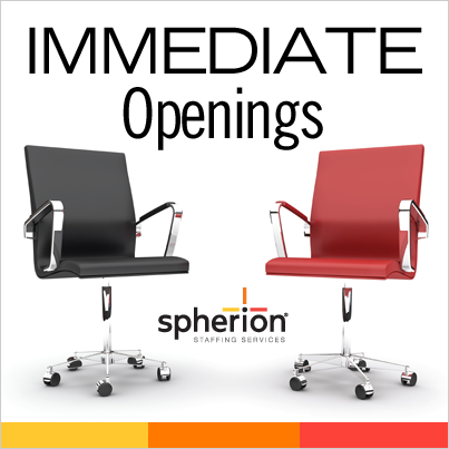 Register with us today at www.spherion.com/jobs and enter office code D514730