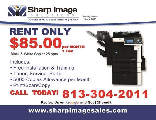 SAVE BIG!! with our Copier and Printer Rental Deal. Calls Us Today we travel to you.