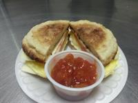 Breakfast Sandwich with Salsa dip~