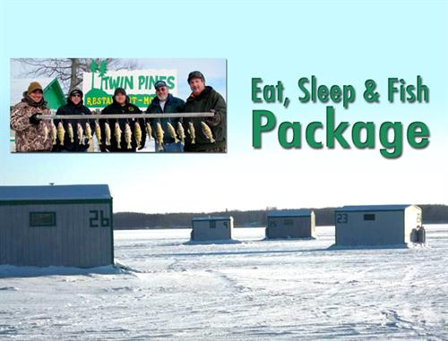 Twin pines resort fish house rental service launch for Ice fishing deals
