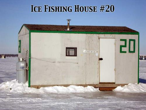 Twin pines resort fish house rental service launch for Fish house rentals mn