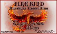 Business Card for Roger Grona - President - Firebird Business Consulting Ltd. - Saskatoon - Warman area