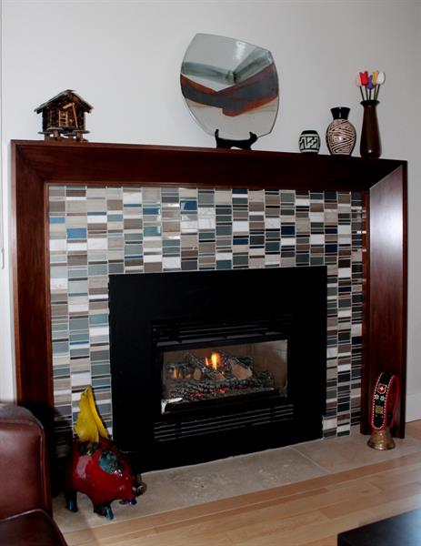 Fireplace - maple mantal surround and tiling