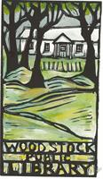 Woodstock Library in Spring - Woodcut by Carol Zaloom