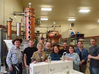 One of our fun bottling parties in the distillery.