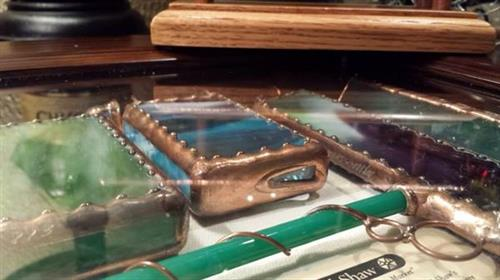 Hand made stained glass pairs with copper detailing for heirloom kaleidoscopes each one of a kind piece is signed by the artist