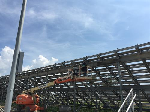 Welding on bleachers at Galot Motor Sports Drag Strip