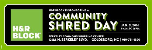 Upcoming Community Shred Day Event Jan 9, 2016