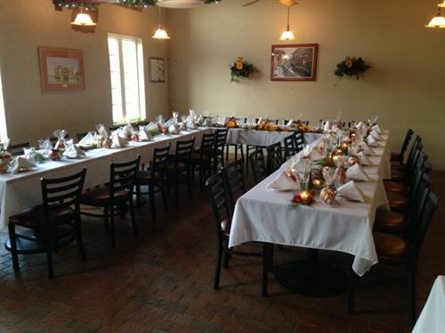 Private Backroom can be reserved for Rehearsal Dinner, Sports Events, Meetings, Parties.