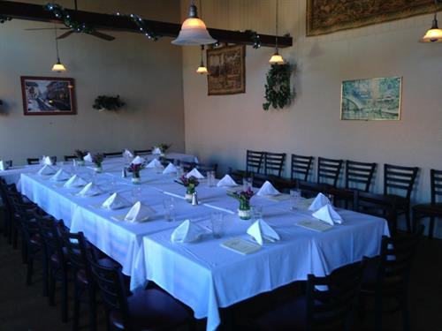 Party room can accomodate up to 40 people. Flexible seating arrangements & menus.