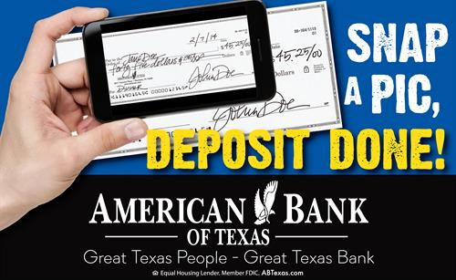Snap-a-Pic mobile deposit makes banking easy!