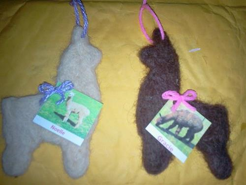 Needle Felted ALPACA SHAPED ornaments