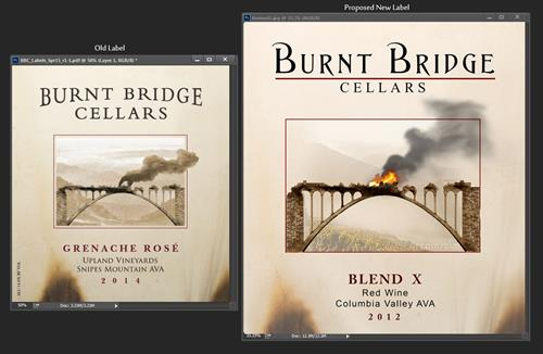 Wine label before and after