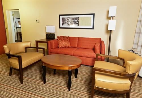 The seating area in our suites is spacious and comfortable.