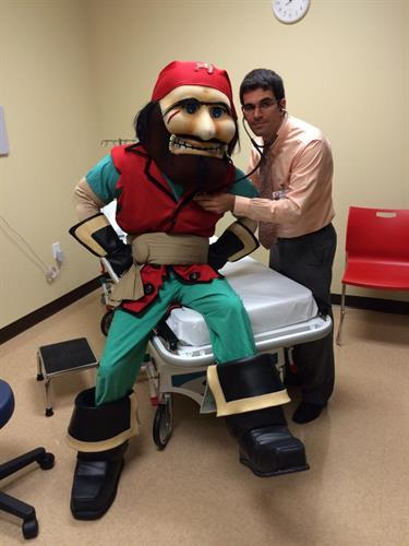 Captain Fear visited us during our grand opening for a check up!