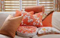 We can do custom pillows to match your custom drapes or roman shades!