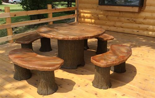 Dining Fire Table With Benches
